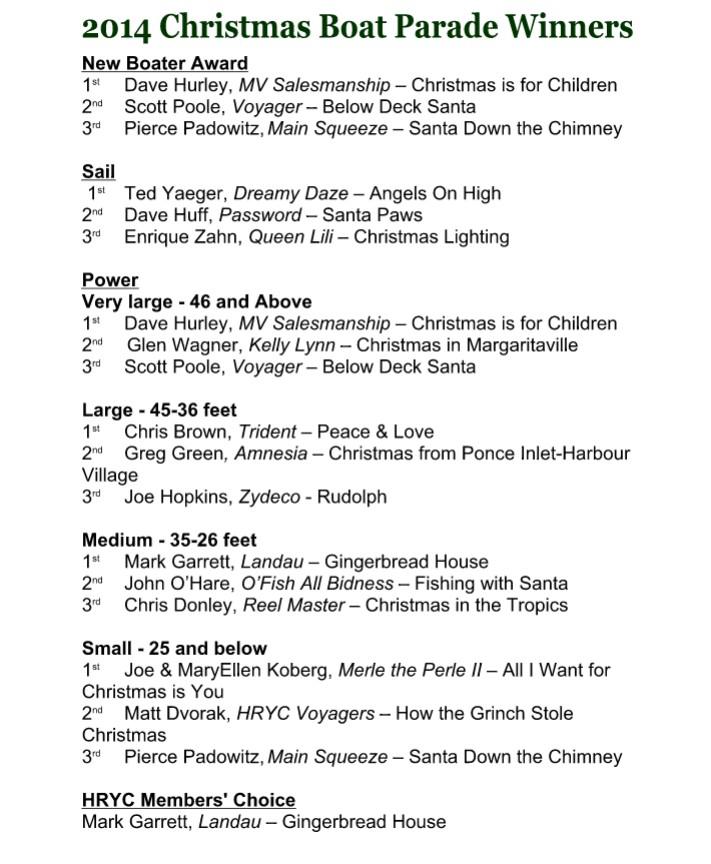 HRYC-Christmas Boat Parade Winners 2014